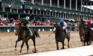 LOUISVILLE, KY -SEP 17: Society Beau wins the 6th race at Churchill Downs, a 6F Maiden for two year olds. Owner B.C.W.T. Ltd, trainer Neil J. Howard. By Curlin x Seattle Society (A.P. Indy) (Photo by Mary M. Meek/Eclipse Sportswire/Getty Images)