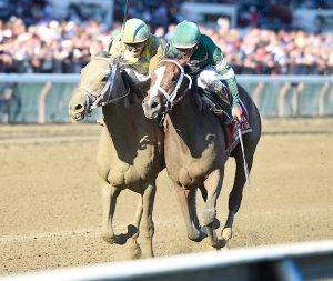 Sweet Loretta (no. 1), ridden by Javier Castellano and trained by Todd Pletcher dead heats with Pretty City Dancer (no. 6), ridden by Irad Ortiz Jr. and trained by Mark Casse, to win the 125th running of the grade 1 Spinaway Stakes for two year old fillies on September 3, 2016 at Saratoga Race Course in Saratoga Springs, New York. (Bob Mayberger/Eclipse Sportswire)